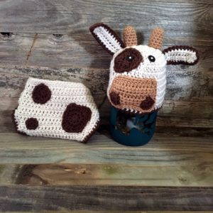 newborn cow hat diaper cover